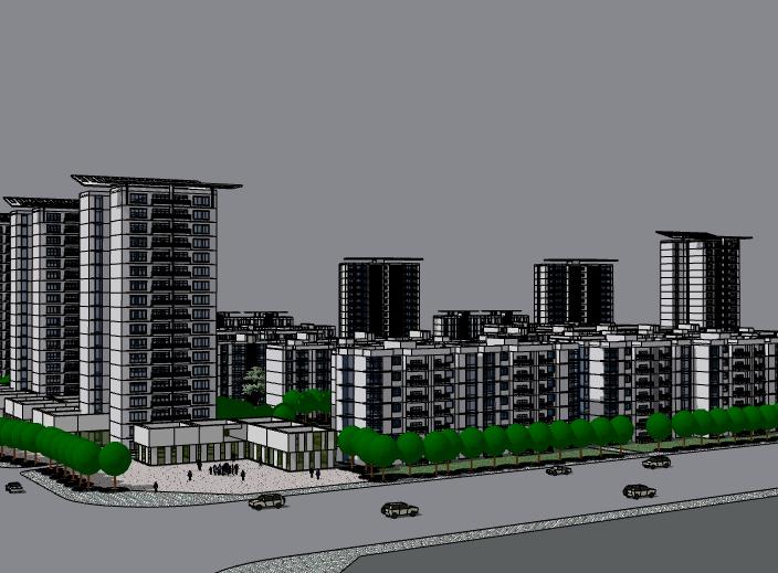 现代风格住宅小区建筑模型设计
