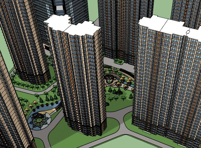 高层住宅小区建筑模型设计
