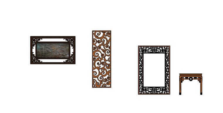 中式元素门窗桌,屏风su模型(中式元素方形门窗桌,中式元素有圆
