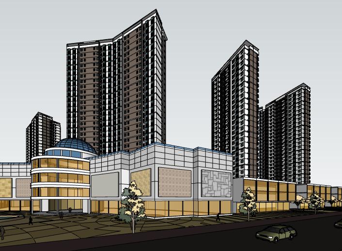 现代高层住宅小区建筑模型设计