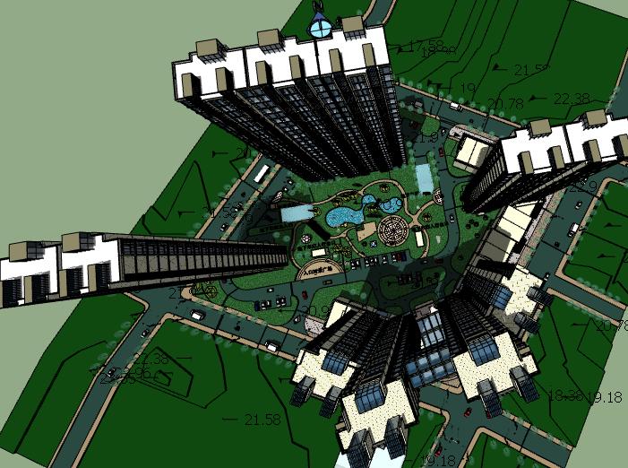 锦绣年华二期高层住宅小区建筑模型设计