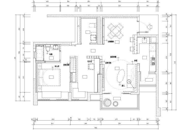 [香港]多维-九龙仓高新区三单元一居室样板间全套CAD施工图