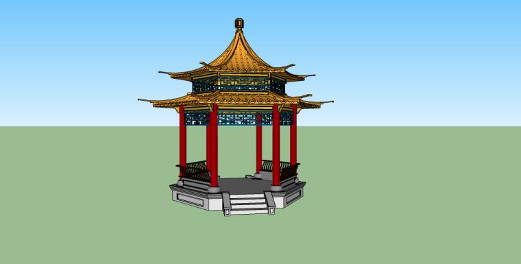 中式六角亭su模型