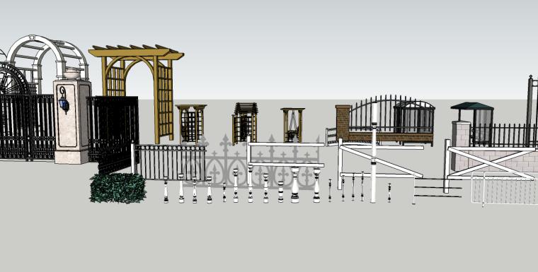栏杆铁艺廊架su模型合集
