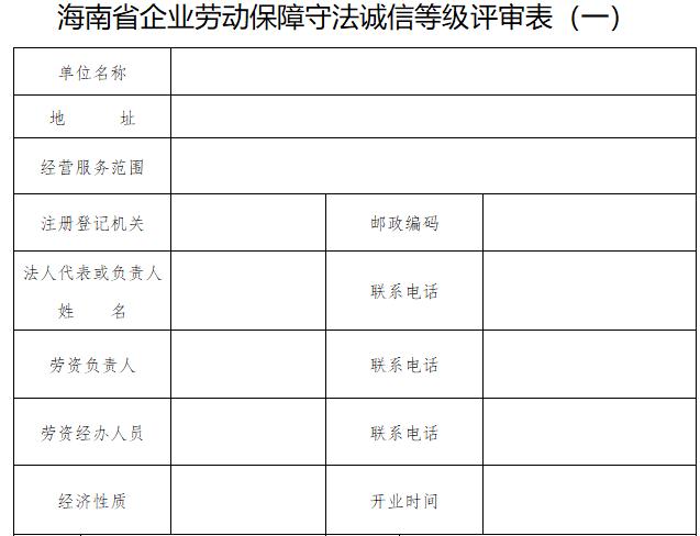 海南省企业劳动保障守法诚信等级评审表