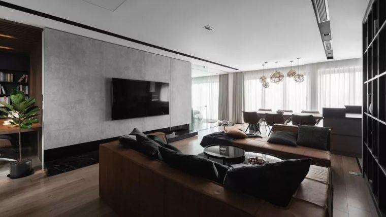 140㎡深色系现代公寓,卧室、书房的墙面这样装太好看了