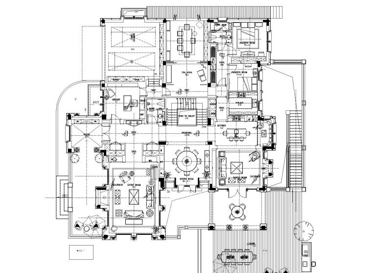戴昆-上海绿城1000㎡美式别墅室内装修施工图+软装方案+效果图+物料