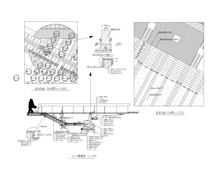 42套跌水叠泉瀑布CAD施工图(21-42)