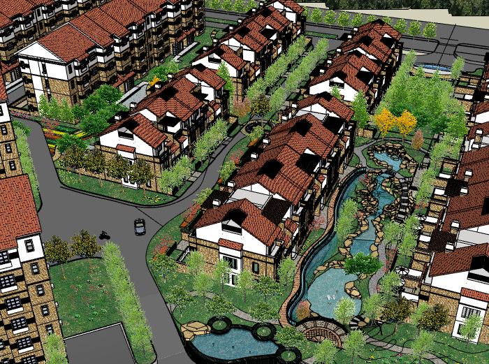多层住宅小区建筑模型设计