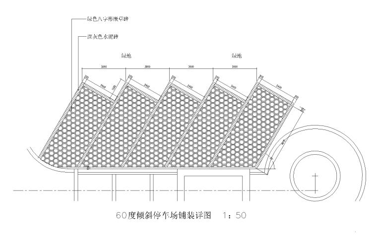 60度停车场CAD平面图