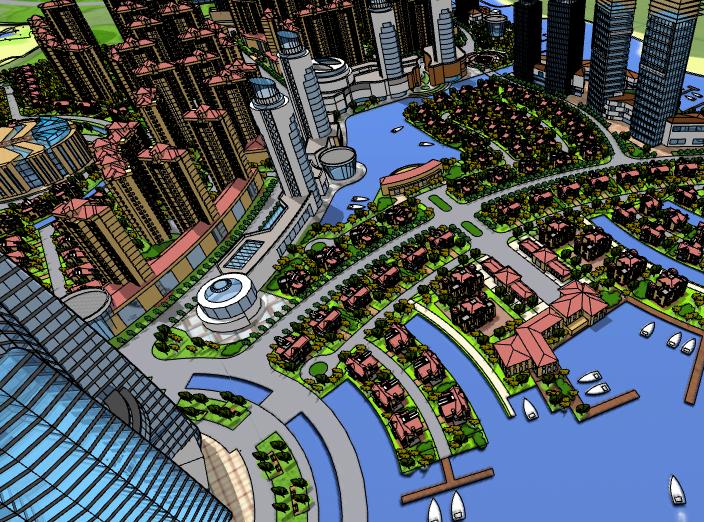 现代海景住宅小区建筑模型设计