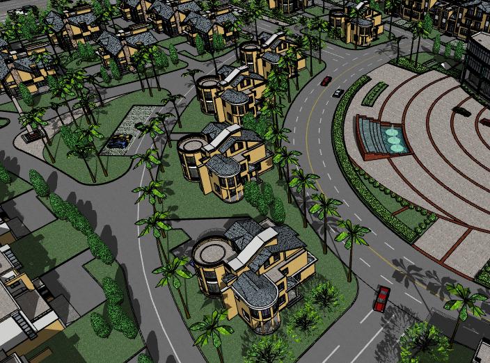 中式别墅区建筑模型设计