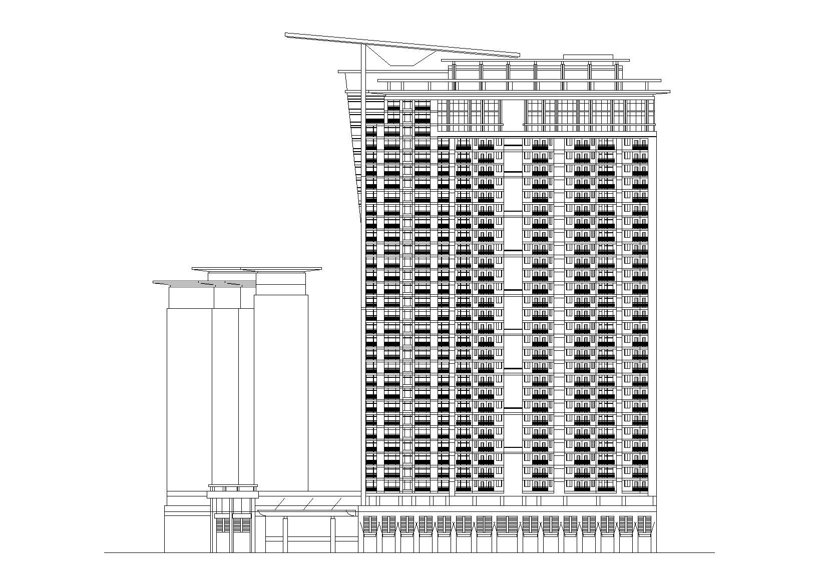 北京國際大廈建筑設計施工圖(CAD)