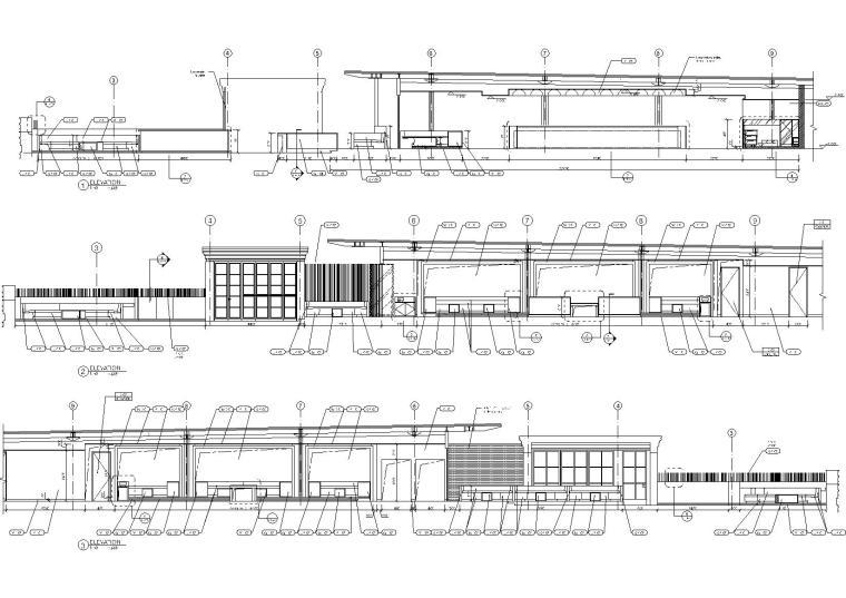 [上海]Kokaistudios-上海外滩18号1100㎡酒吧效果图+施工图+机电+厨房+摄影-酒吧室内设计立面图(1)