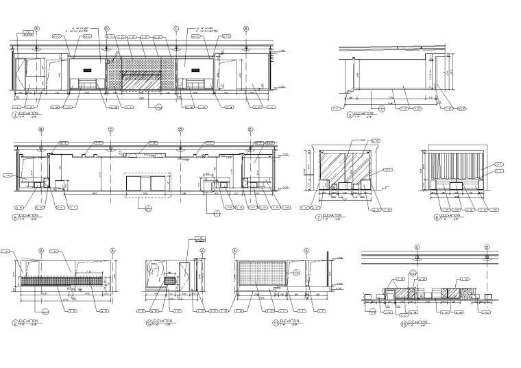 [上海]Kokaistudios-上海外滩18号1100㎡酒吧效果图+施工图+机电+厨房+摄影-酒吧室内设计立面图(2)
