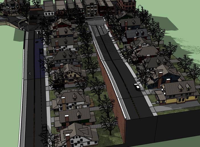 坡地中式别墅建筑模型设计