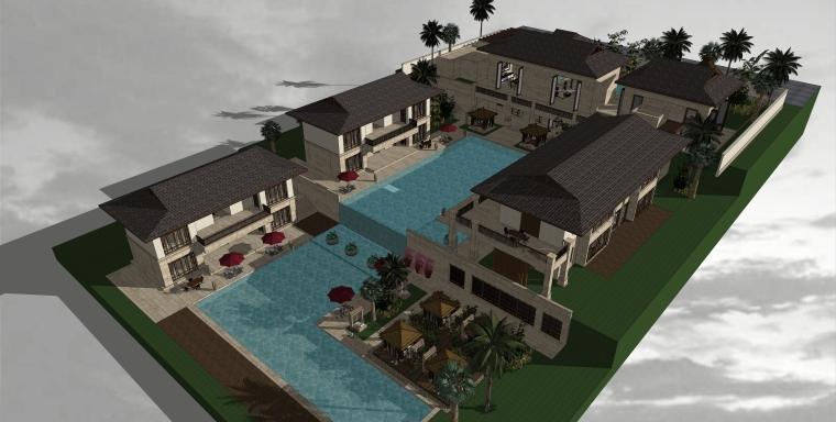 东南亚风格-度假酒店建筑设计SU模型