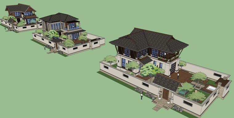 东南亚风格-带花园院子独栋别墅建筑设计SU模型