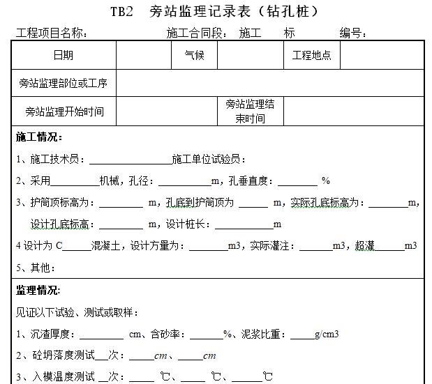 旁站监理记录表(钻孔桩)