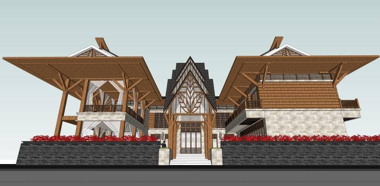 东南亚风格-院落别墅建筑SU模型