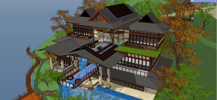 东南亚风格-独栋流水别墅建筑SU模型