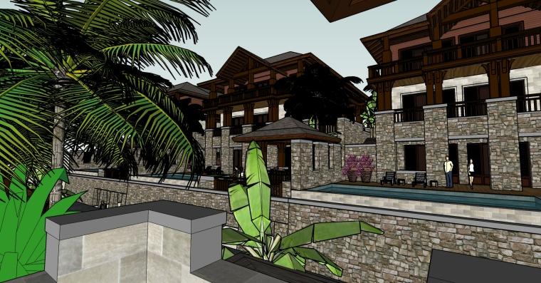 东南亚风格-酒店设计建筑SU模型