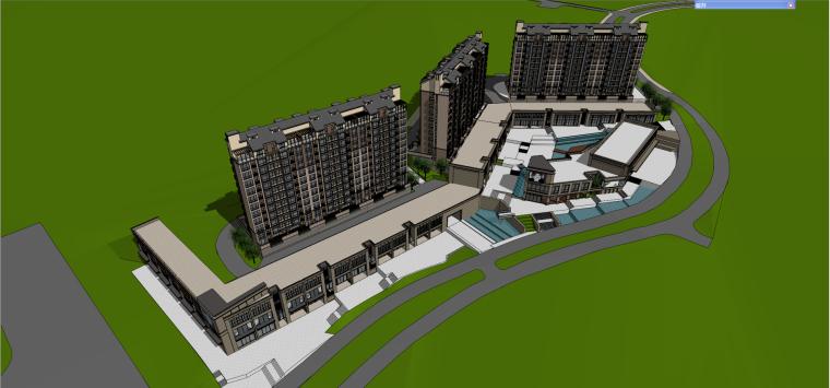 保利欧式风格洋房+商业建筑模型设计
