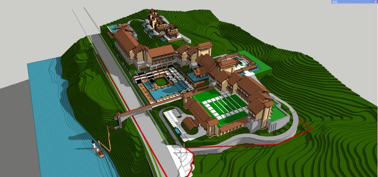 东南亚风格-山地别墅度假村建筑设计SU模型