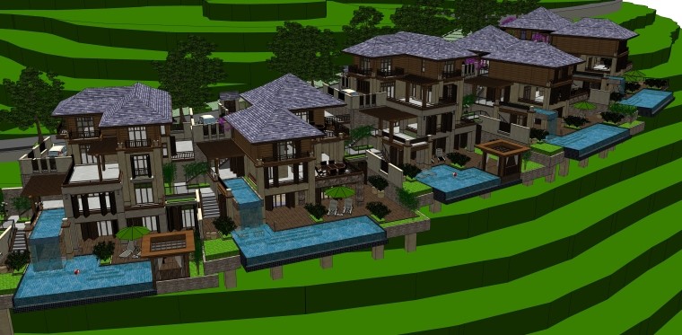 东南亚风格-山地别墅建筑设计SU模型