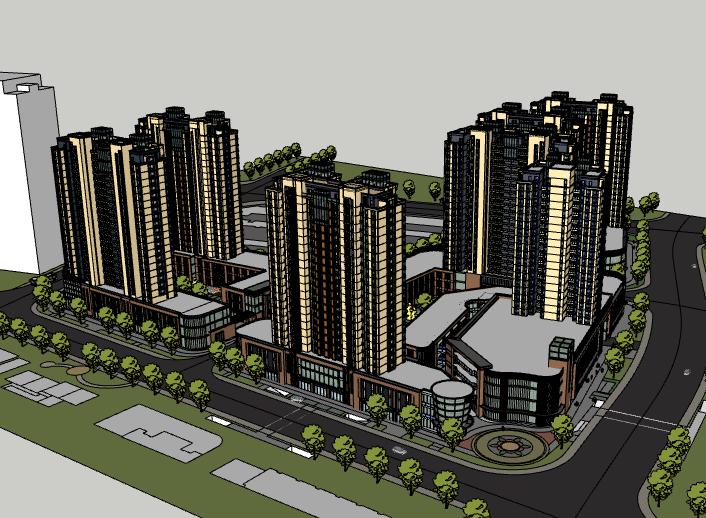 高层住宅小区楼盘建筑模型设计