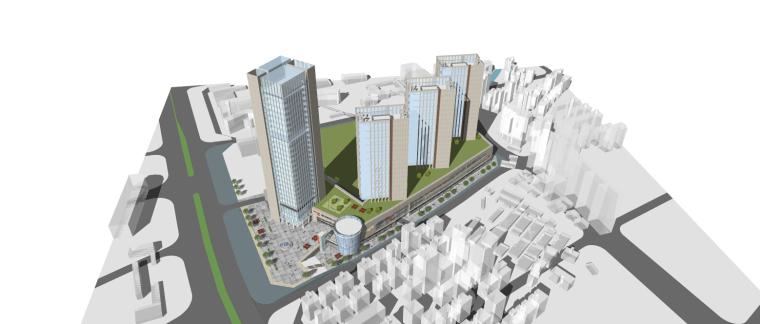 龙湖简约朴素感的办公+公寓建筑模型设计