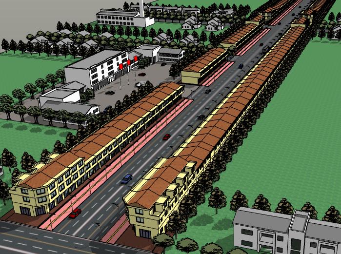 二层商业街建筑模型设计