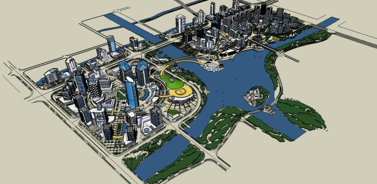 城市滨水规划建筑景观su模型
