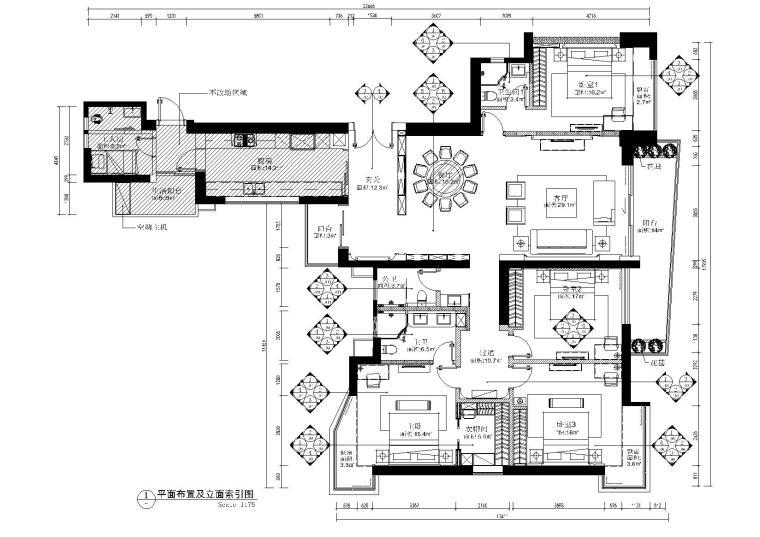 [澳门]230㎡平层私宅丨高清效果图+CAD施工图+物料书