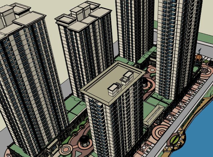 塞纳名爵高层住宅建筑模型设计