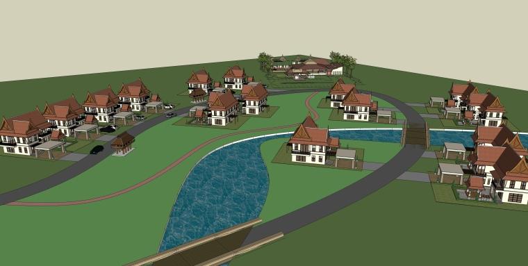 东南亚风格-两层独栋别墅带车库建筑群SU模型