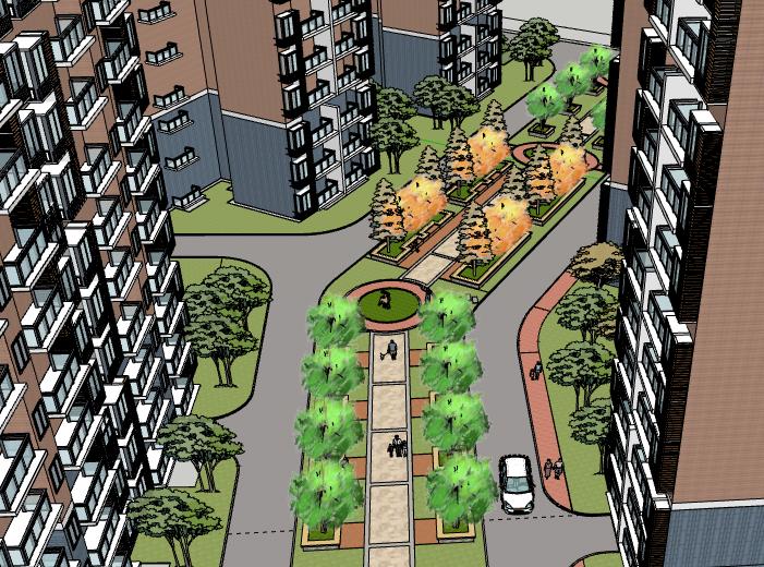 鹿鸣苑高层住宅小区建筑模型设计