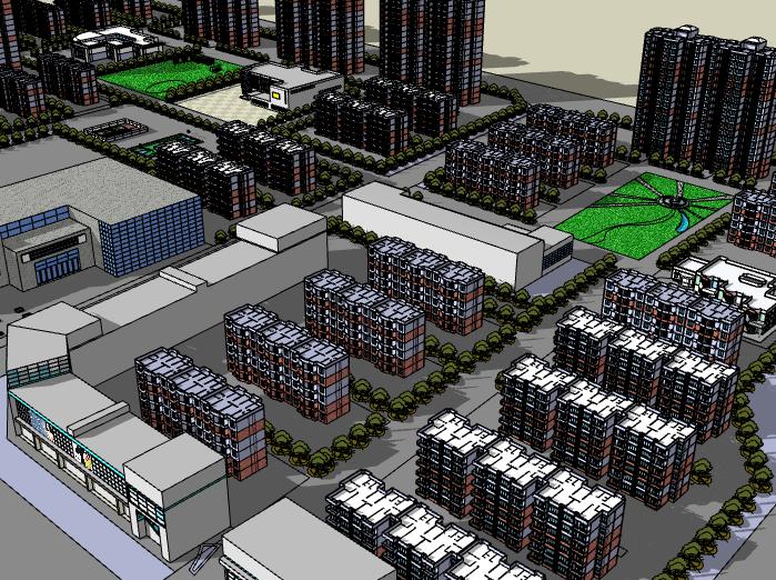 居民住宅小区建筑模型设计
