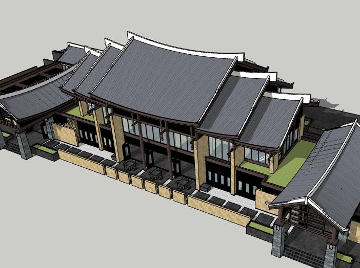 新中式层叠屋顶建筑模型设计