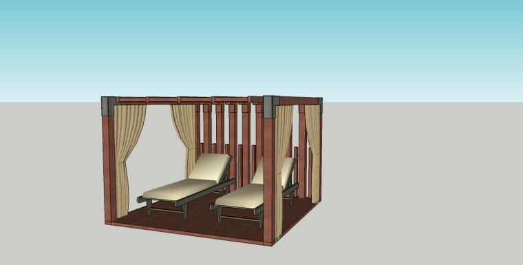 泳池边休息凉棚躺椅su模型