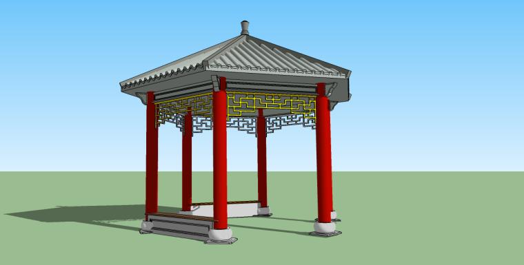 混凝土六角亭su模型