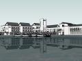 徽派风格水边会所建筑模型设计