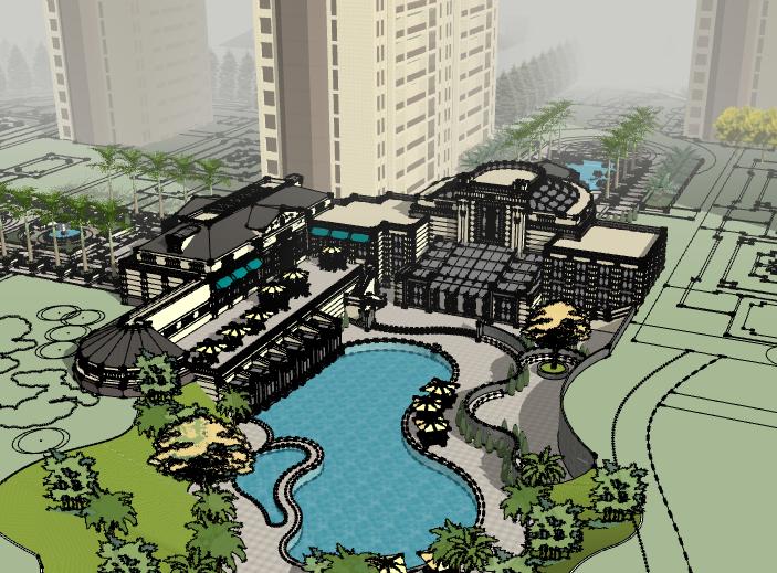 小区新中式会所建筑模型设计