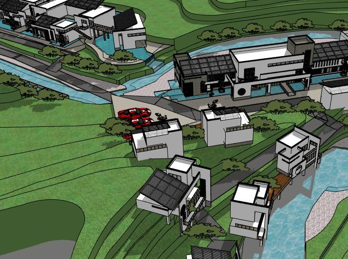 新中式度假别墅建筑模型设计