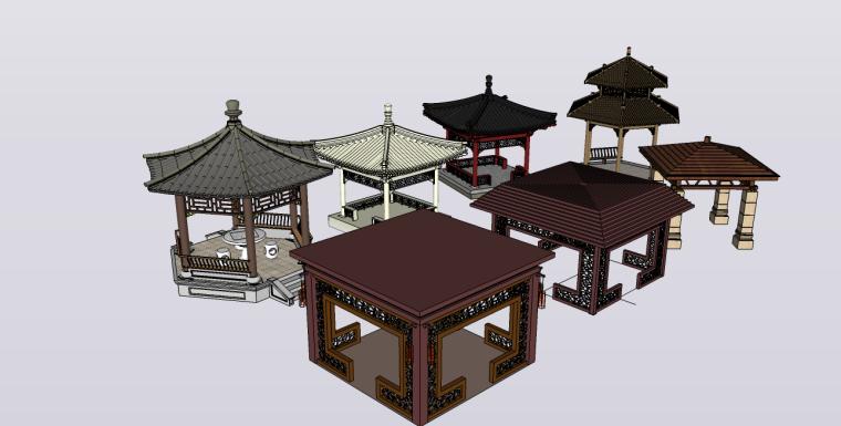 ITKE研究展亭景观资料下载-7个古建景观亭su模型
