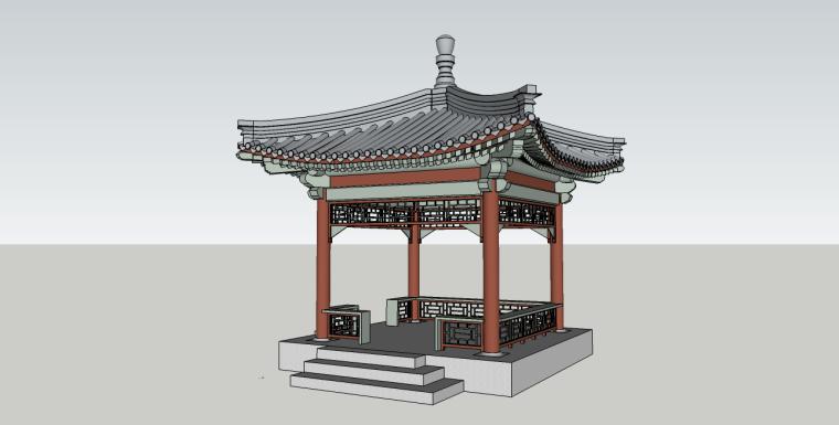 标准中式景观亭子su模型