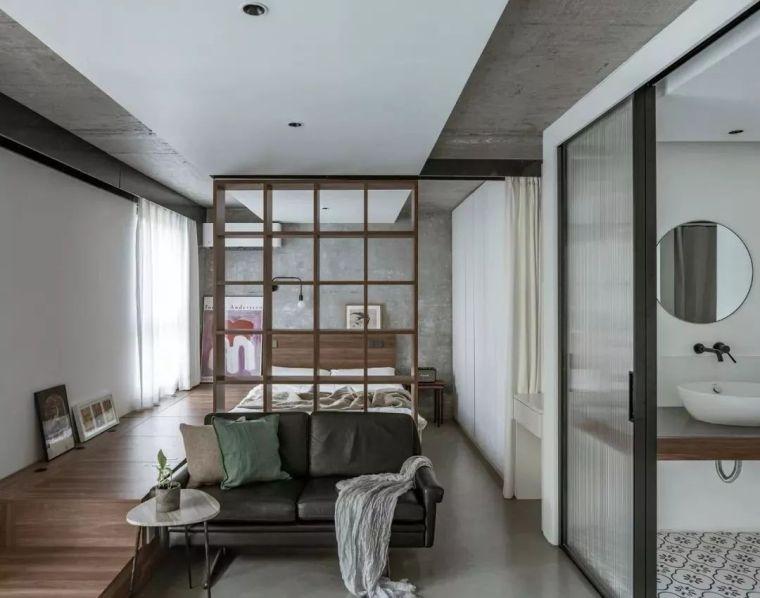 43㎡简约风单身公寓,实用又好看的地台床设计,太惹人喜欢了!