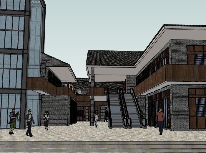 中式内坡街道建筑模型设计