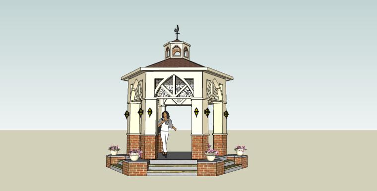 欧式西班牙六角亭su模型