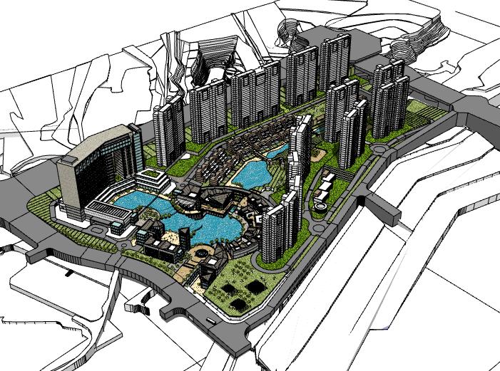 新中式会所建筑模型设计